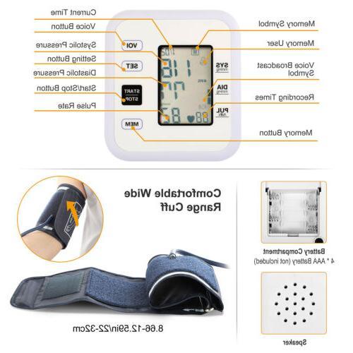 Automatic Pressure Monitor Digital FDA Pulse Memory