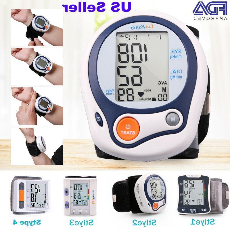 Automatic Wrist Blood Pressure Monitor BP Cuff Heart Rate Te
